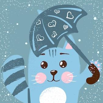 Gatto carino e divertente. piccola illustrazione della principessa.