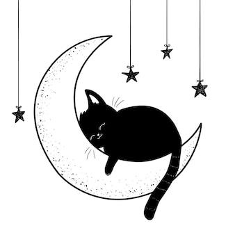 Gatto che dorme sull'illustrazione della luna