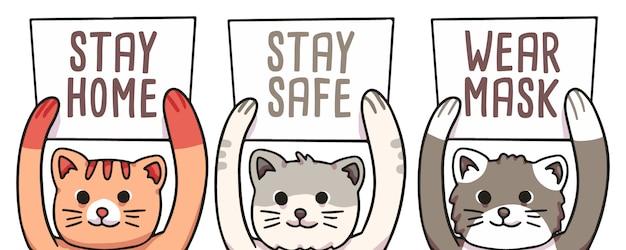 Gatto che tiene a casa, stare al sicuro e indossare maschere board covid-19 illustrazione coronavirus