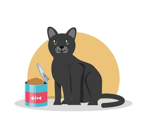 Gatto con cibo in scatola