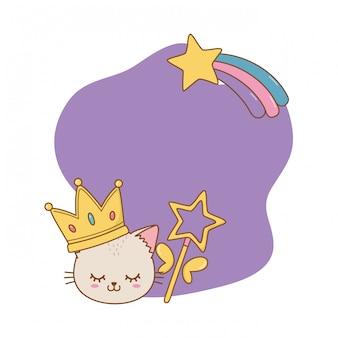 Gatto con corona e cornice della bacchetta