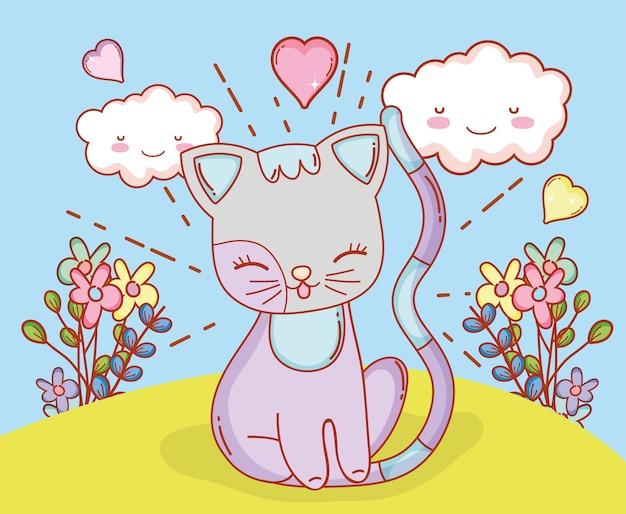 Gatto con nuvole kawaii e piante di fiori
