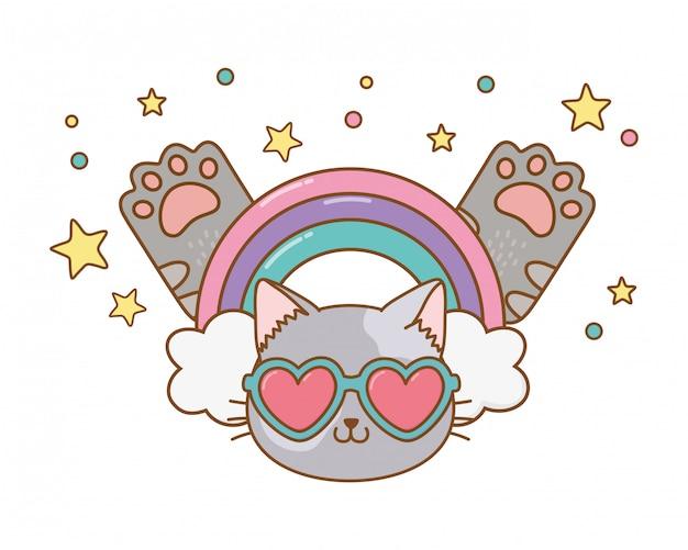 Gatto con occhiali da sole a cuore