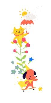 Gatto con un ombrello e cani