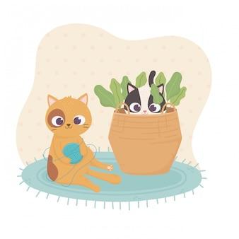 Gatto dell'animale domestico che si siede con la palla di lana e l'altra illustrazione del fumetto della merce nel carrello