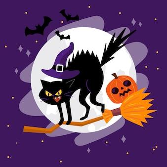 Gatto di halloween design piatto sulla scopa