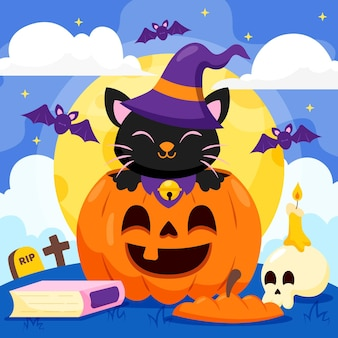 Gatto di halloween design piatto