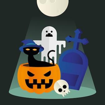 Gatto di halloween in fantasma di zucca e design grave, tema spaventoso