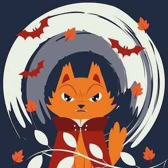 Gatto di halloween travestito da personaggio di dracula