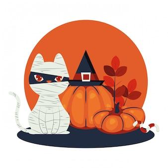 Gatto di halloween travestito da personaggio mummia