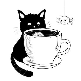 Gatto di kawaii e ragno divertente con tè dell'illustrazione della tazza