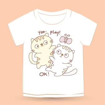 Gatto disegnato a mano sveglio del bambino per la maglietta