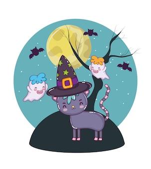 Gatto e fantasmi di halloween