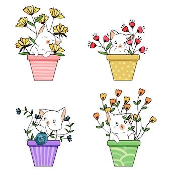 Gatto e fiore kawaii disegnati a mano all'interno del vaso