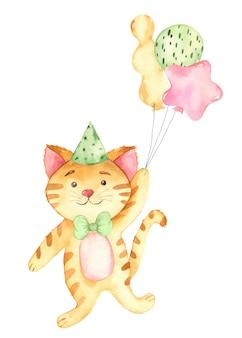 Gatto e palloni dello zenzero del bambino di buon compleanno dell'acquerello