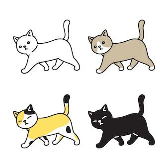 Gatto gattino a piedi cartone animato
