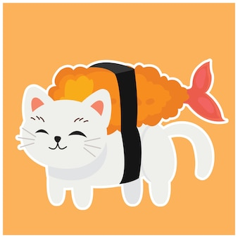 Gatto gattino carino nel sushi
