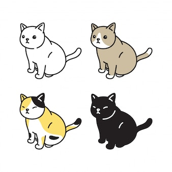 Gatto gattino seduto cartoon