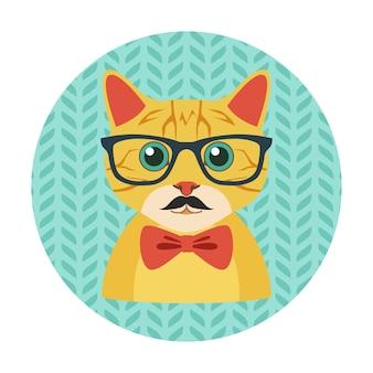 Gatto hipster con occhiali, farfallino e baffi