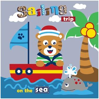 Gatto il marinaio sul mare divertente animale dei cartoni animati