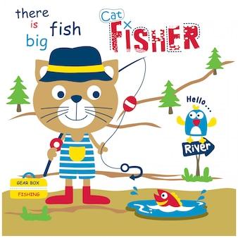 Gatto il pescatore animale divertente cartone animato, illustrazione vettoriale