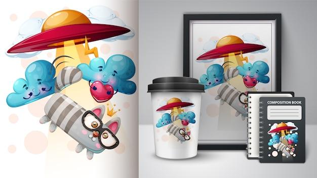 Gatto, illustrazione gattino per tazza, cornice per foto e diario