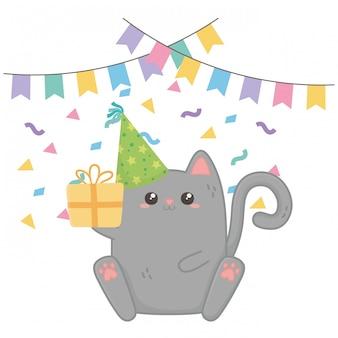 Gatto kawaii e buon compleanno