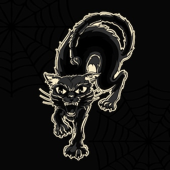 Gatto nero arrabbiato halloween vector illustration