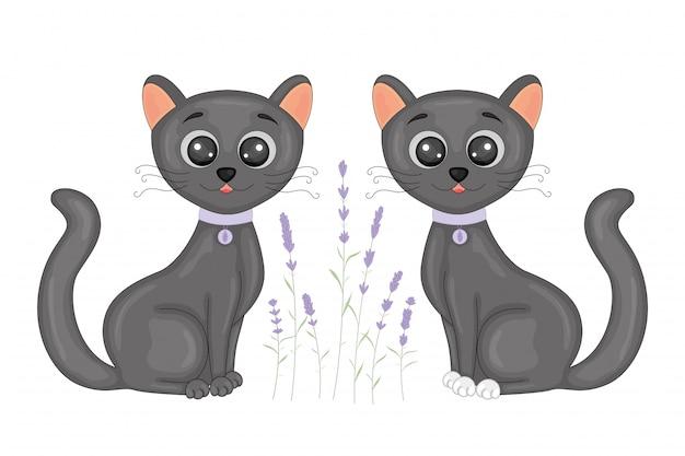 Gatto nero cartone animato carino su sfondo di lavanda floreale.