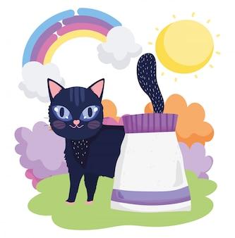 Gatto nero con animali domestici del sole dell'erba del pacchetto dell'alimento