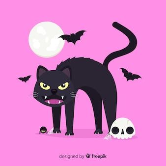 Gatto nero di halloween con la luna su fondo rosa