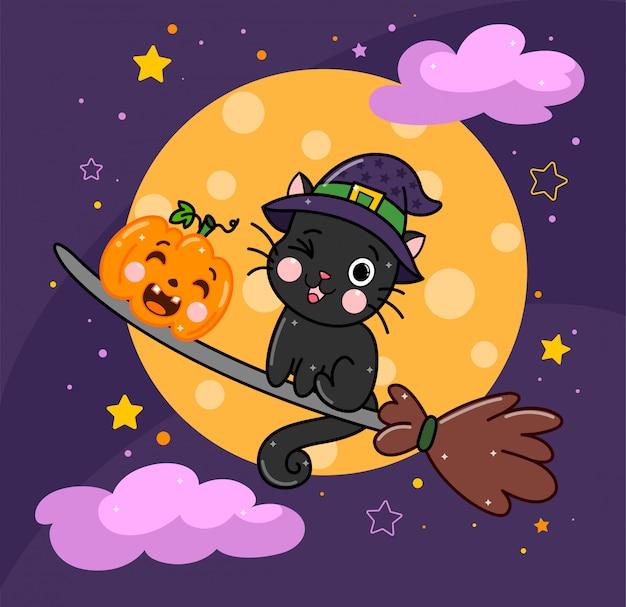 Gatto nero di halloween sveglio con la zucca sul manico di scopa contro la luna.