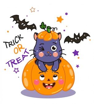 Gatto nero kawaii in zucca con pipistrelli. cartone animato di carattere gatto strega vettoriale.