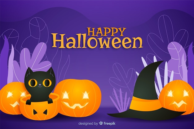 Gatto nero nel fondo di halloween della zucca
