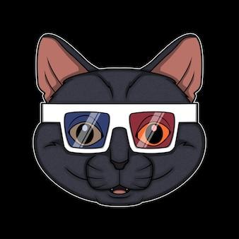 Gatto occhiali 3d