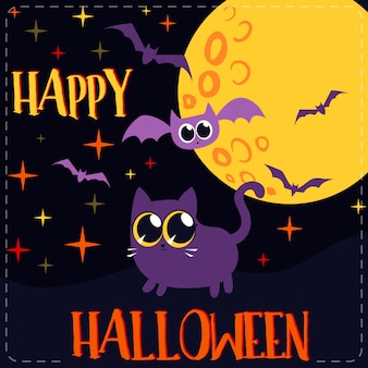 Gatto pipistrelli e luna cartolina d'auguri di halloween