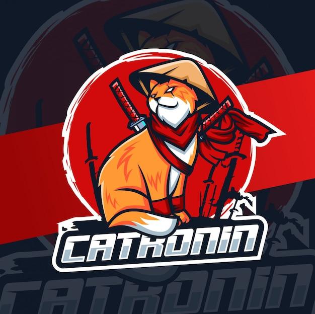 Gatto ronin ninja mascotte esport logo