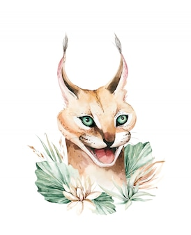 Gatto selvatico caracal. pittura animale dell'acquerello del ritratto serval africano