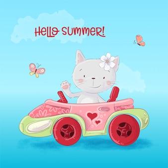 Gatto simpatico cartone animato in macchina.
