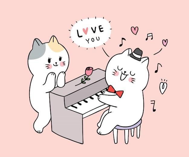 Gatto suonare il pianoforte e coppia