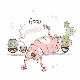 Gatto sveglio che dorme su uno scaffale con i cactus