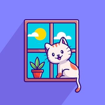 Gatto sveglio che si siede sulla finestra del fumetto