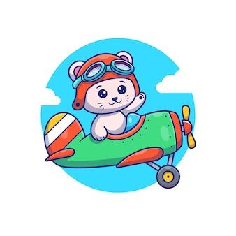 Gatto sveglio che vola con l'illustrazione dell'icona del fumetto dell'aereo dell'annata. concetto dell'icona di trasporto animale isolato. stile cartone animato piatto