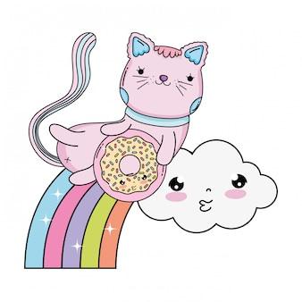 Gatto sveglio con ciambella in arcobaleno