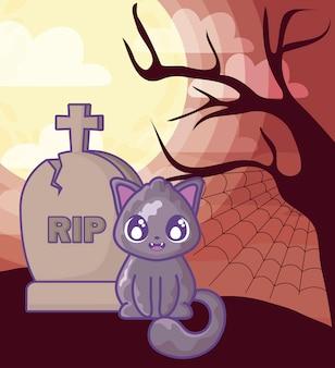 Gatto sveglio con la pietra tombale del cimitero sulla scena di halloween
