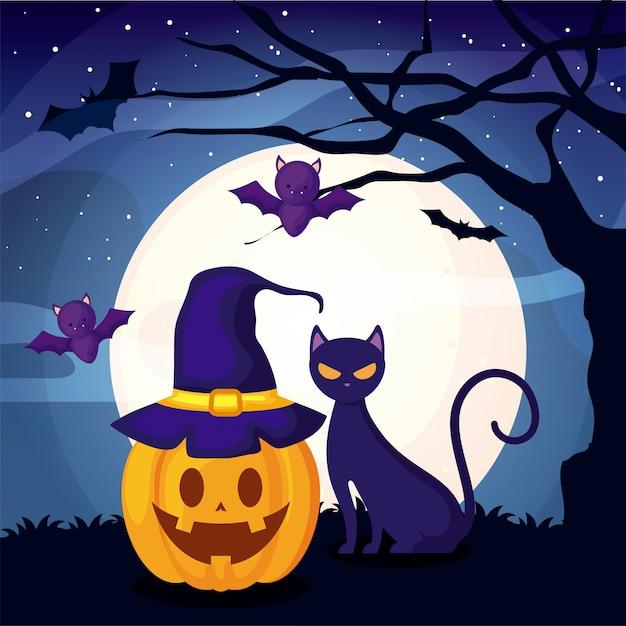 Gatto sveglio con la zucca sulla scena di halloween