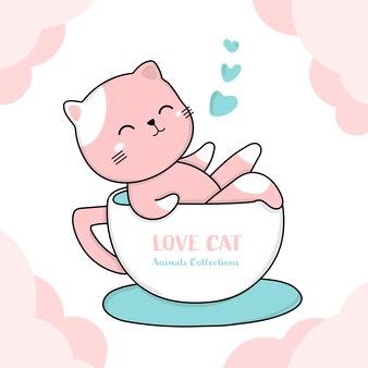 Gatto sveglio con stile disegnato a mano animale tazza di caffè