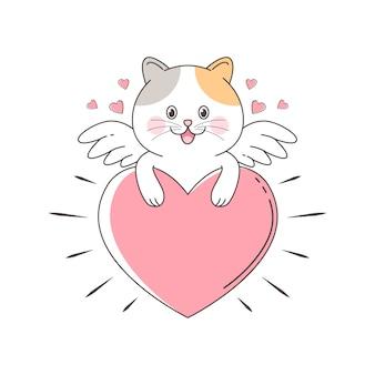 Gatto sveglio del cupido che appende nel grande amore