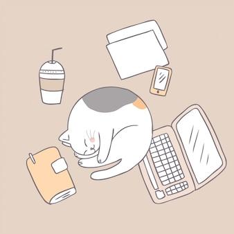 Gatto sveglio del fumetto che dorme.