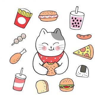 Gatto sveglio del fumetto che mangia vettore degli alimenti.